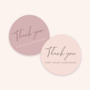 65 Thank You For Your Purchase Stickers (MED SIZE)